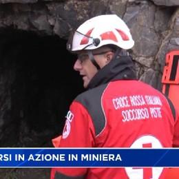 Gorno, esercitazione della Croce rossa in miniera