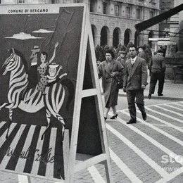 Bergamo e le «zebre» in via Tasso Pubblicità progresso dal passato
