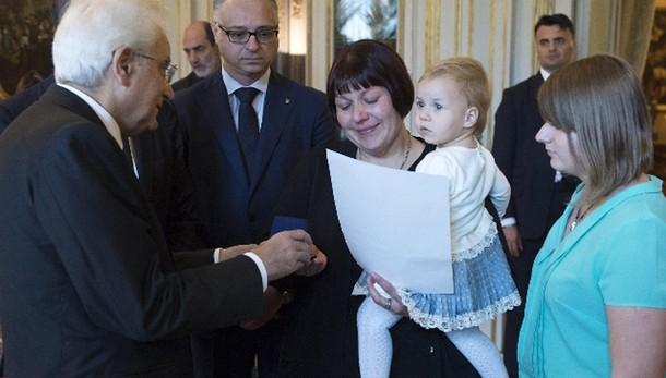 Mattarella riceve famiglia eroe ucraino