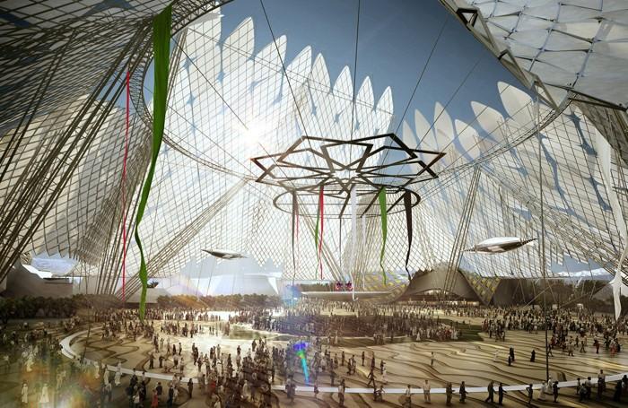 Una simulazione dell'Expo di Dubai 2020