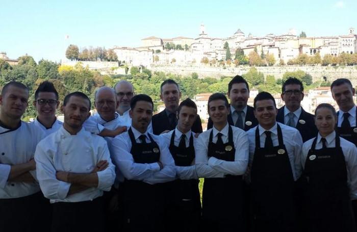 La brigata del ristorante Roof Garden