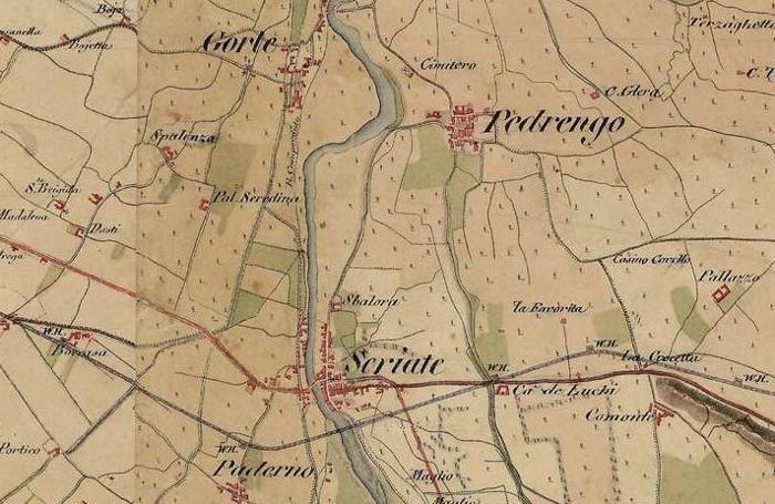 Un dettaglio della mappa: al centro si vede Seriate