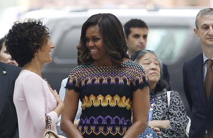 Michelle Obama con Agnese Renzi durante la sua visita a Expo