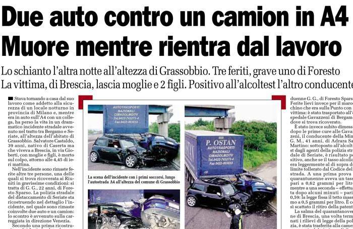 L'articolo relativo all'incidente in cui rimase coinvolto Giorgio - L'Eco di Bergamo, 16 maggio 2010