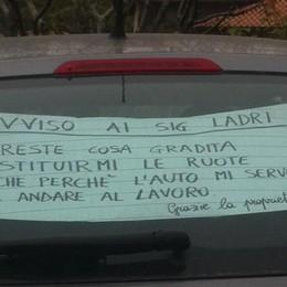 Auto senza ruote alle Ghiaie di Presezzo La vittima scrive ai ladri e Fb condivide