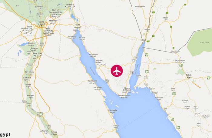 La mappa mostra il monte Sinai dove è precipitato l'aereo di linea russo con 224 persone a bordo partito da Sharm el Sheik e diretto a San Pietroburgo. È caduta una ventina di minuti dopo.