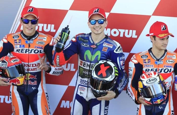 Jorge Lorenzo, Marc Marquez and Dani Pedrosa a Valencia. Rossi spera che vinca uno della Honda