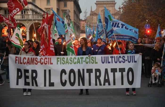 La sciopero dei dipendenti della grande distribuzione dello scorso novembre
