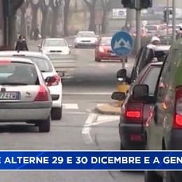 Targhe alterne a Bergamo il 29 e 30 dicembre, il 4 e 5 gennaio