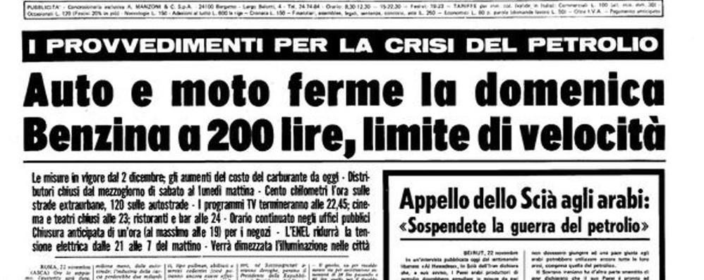 Ora le polveri sottili, nel 1973 il petrolio Quando Bergamo restò quasi a piedi