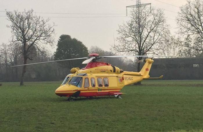 L'elicottero del 118 intervenuto a Pontirolo
