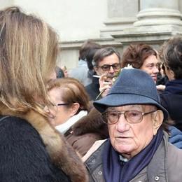 Aldo Pinto, marito di Krizia, questa mattina in occasione del funerale della stilista a Milano