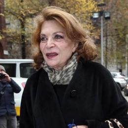 La stilista Raffaella Curiel questa mattina a Milano in occasione del funerale di Krizia che si è tenuto presso la chiesa di Sant'Angelo
