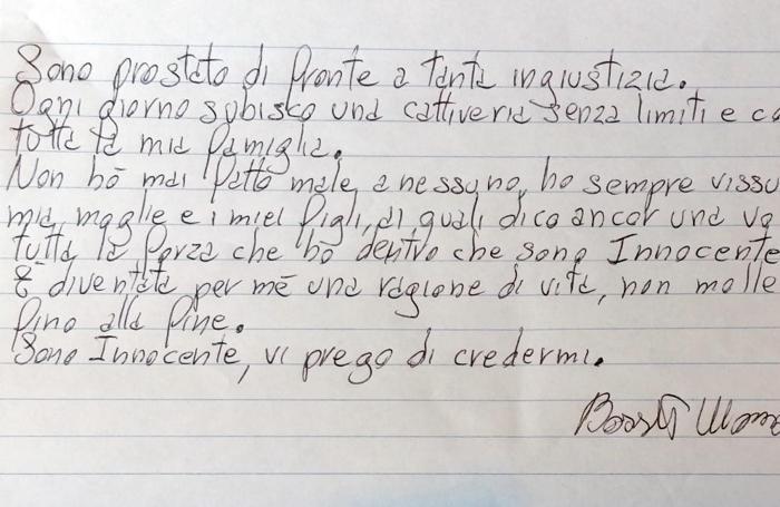 La lettera di Bossetti pubblicata sul sito di TgCom24/News Mediaset