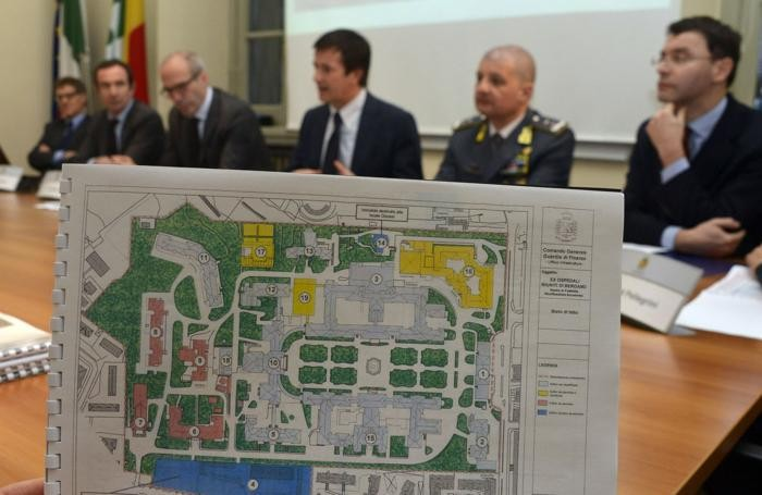 La conferenza stampa e l'area dei Riuniti