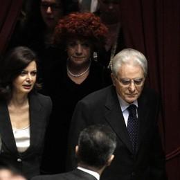 Il Presidente della Repubblica Sergio Mattarella nell'aula della Camera durante la cerimonia del giuramento