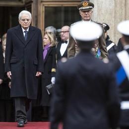 Il presidente della Repubblica Sergio Mattarella lascia Montecitorio dopo il giuramento in Parlamento.