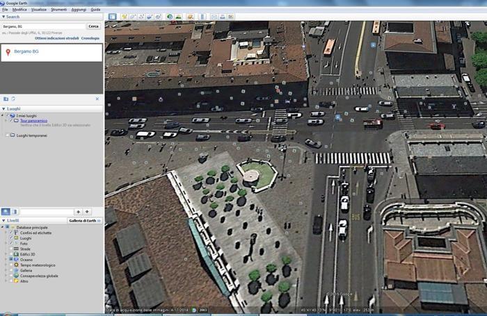 Bergamo: vista aerea di Porta Nuova con Google Earth Pro