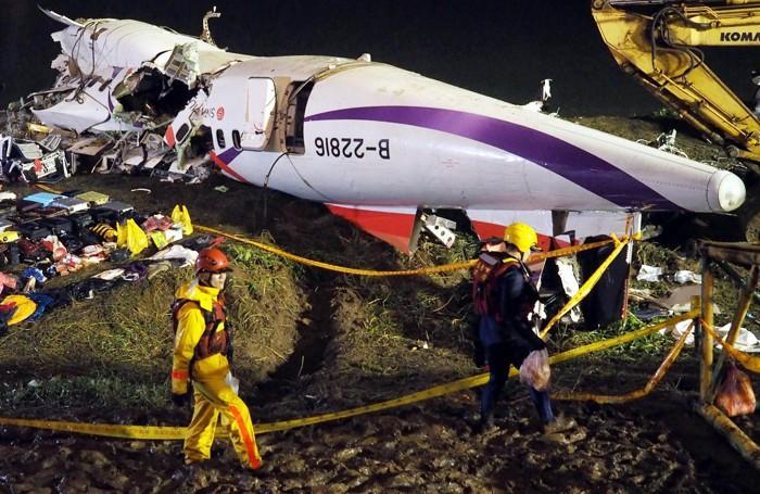 L'aereo della  TransAsia caduto a  Taipei, Taiwan.