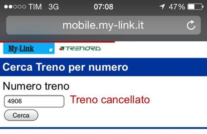Una schermata del cellulare di un pendolare