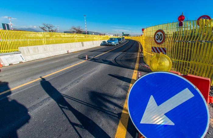 Il cantiere sulla sp116 parallelo ll'autostrada A4