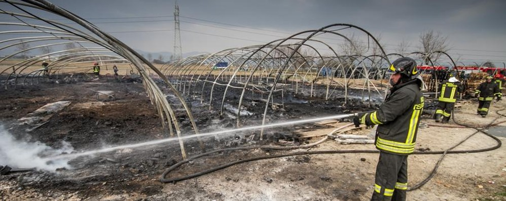 Bruciano tre serre a Grassobbio Alte fiamme, strutture distrutte