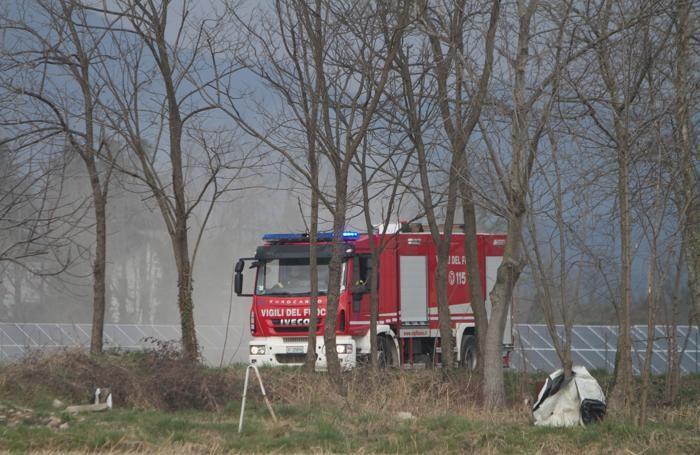 I vigili del fuoco a Grassobbio