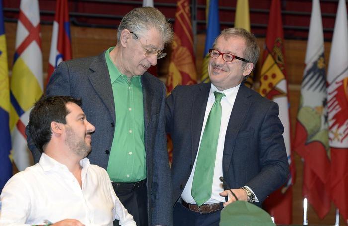 Umberto Bossi,Matteo Salvini e Roberto MaroniANSA/ ALESSANDRO DI MARCO