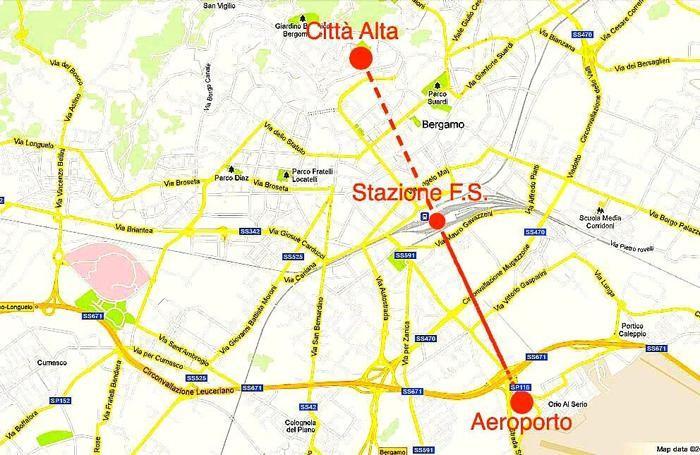 Il tracciato del collegamento ferroviario aeroporto-Città Alta