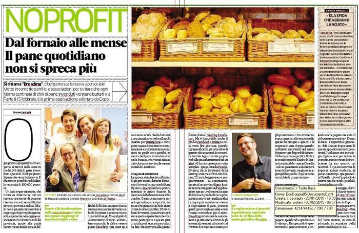 eco.bergamo: le pagine dedicate al pane sul numero di febbraio
