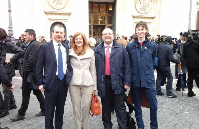 Da sinistra, Giovanni Sanga, Elena Carnevali, Antonio Misiani e Beppe Guerini