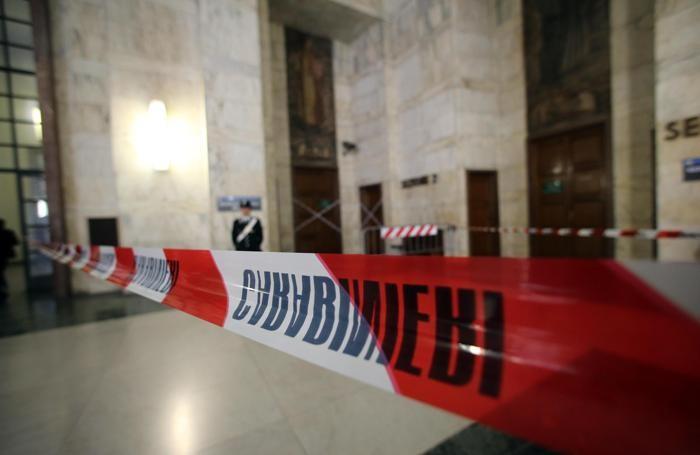 L'aula del tribunale di Milano dove ieri l'imprenditore Claudio Giardiello ha sparato, Milano, 10 aprile 2015. ANSA / MATTEO BAZZI