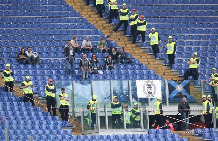 I pochissimi tifosi dell'Atalanta a Roma