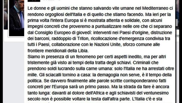 Naufragio:Renzi, prima volta Ue solidale
