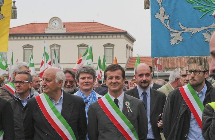 La manifestazione del 25 aprile a Bergamo
