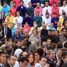 L'ex sindaco di Milano Letizia Moratti  ascolta tra la folla il discorso di Matteo Renzi  ANSA/ STEFANO PORTA