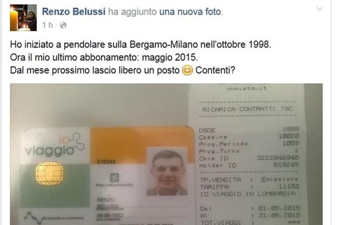 Il post di Belussi su Facebook