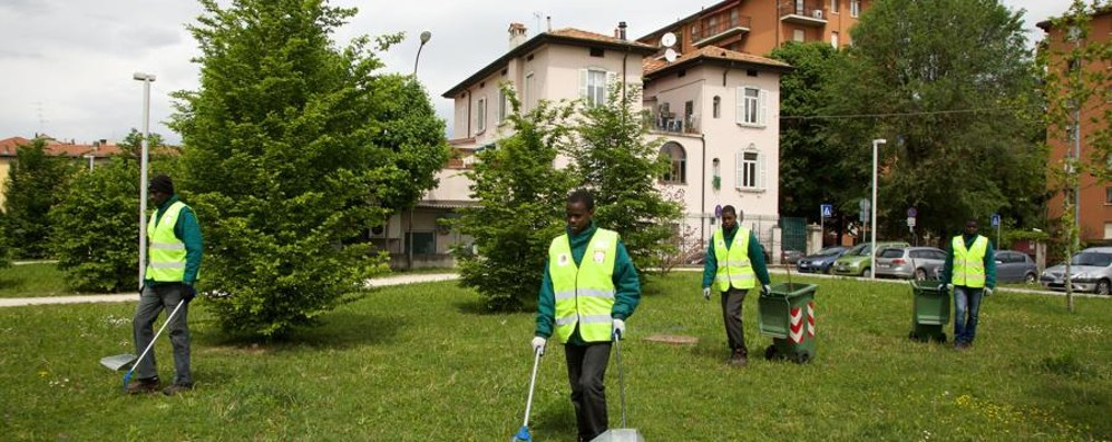 Dalle guerre  al quartiere Carnovali I profughi puliscono aiuole e strade