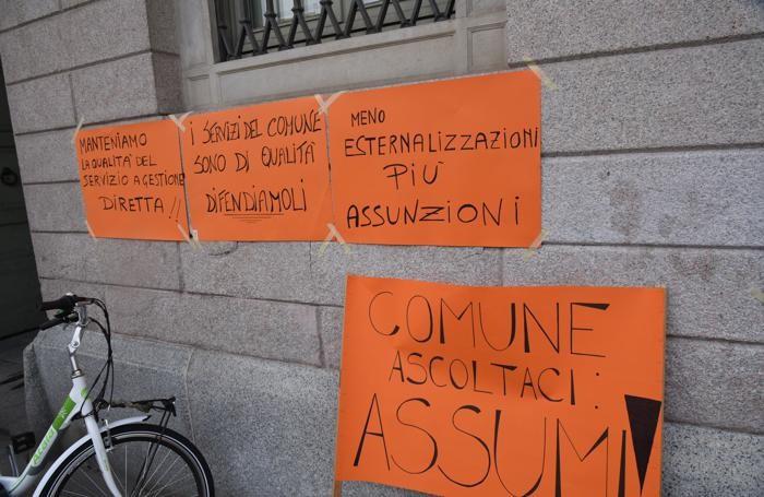 La protesta a Palafrizzoni