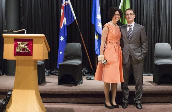 Marco Maria Cerbo a Melbourne per la Festa della Repubblica nel 2014 insieme alla moglie Claudia