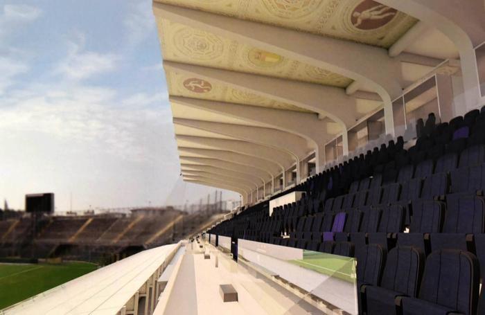 Un dettaglio del restyling della tribuna centrale