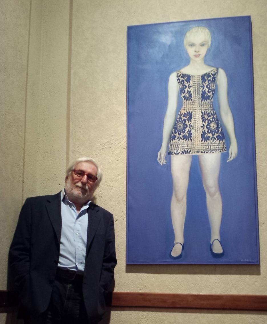 Italo Ghilardi con una sua opera