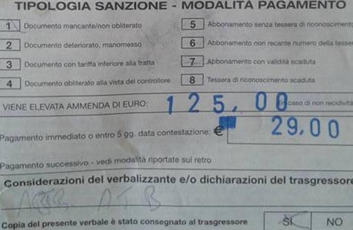 Un dettaglio della multa