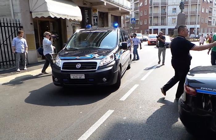L'arrivo dell'imputato, Massimo Bossetti