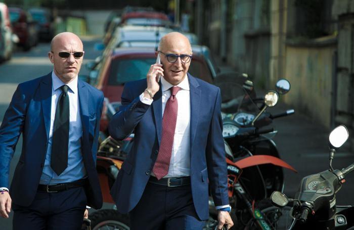 I due avvocati difensori di Bossetti, Paolo Camporini, a sinistra, e Claudio Salvagni