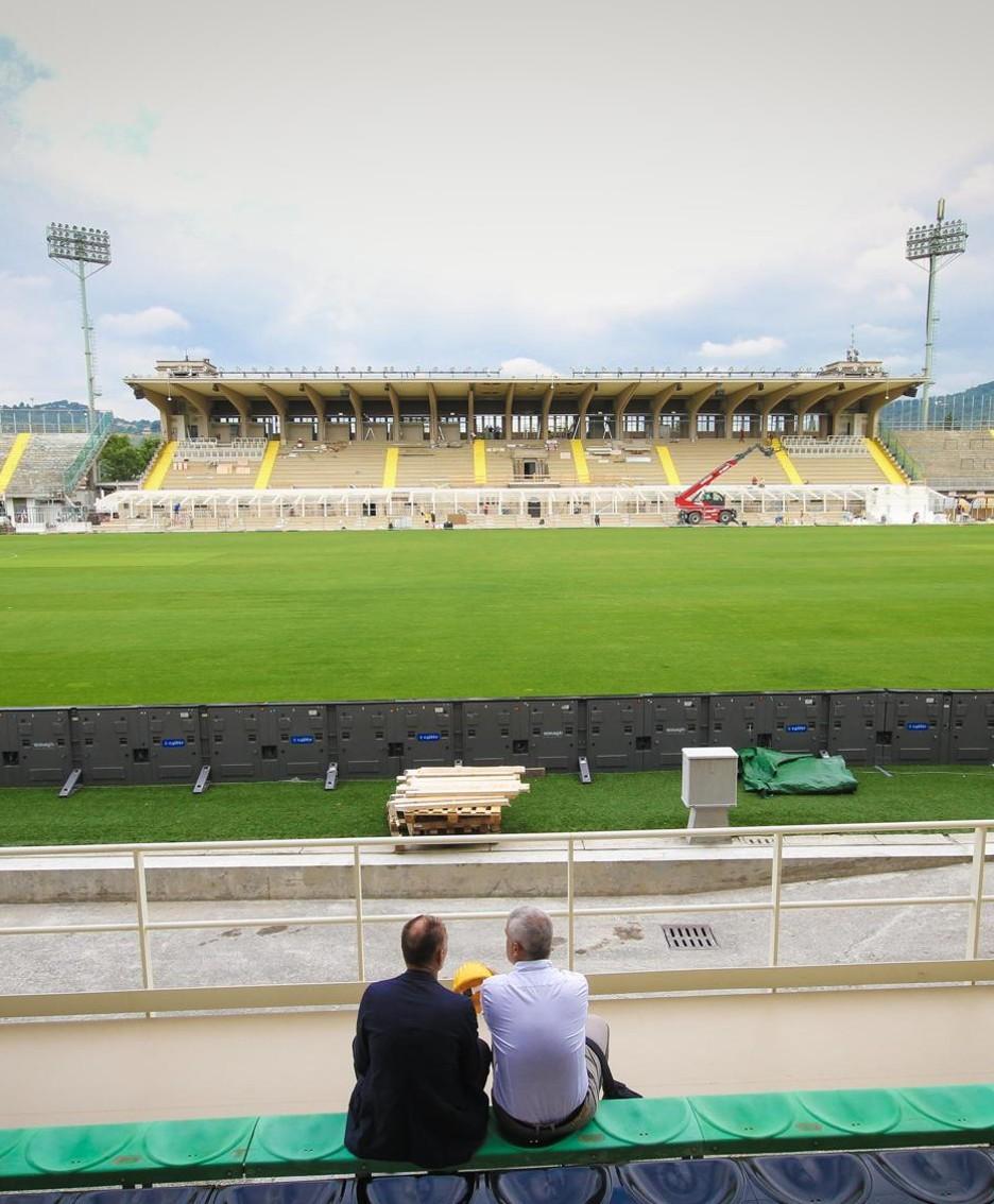 I lavori in corso allo stadio di Bergamo