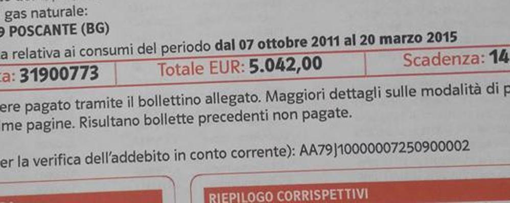 Zogno, niente bolletta del gas per 4 anni Ma poi arriva il conguaglio: 5 mila euro!