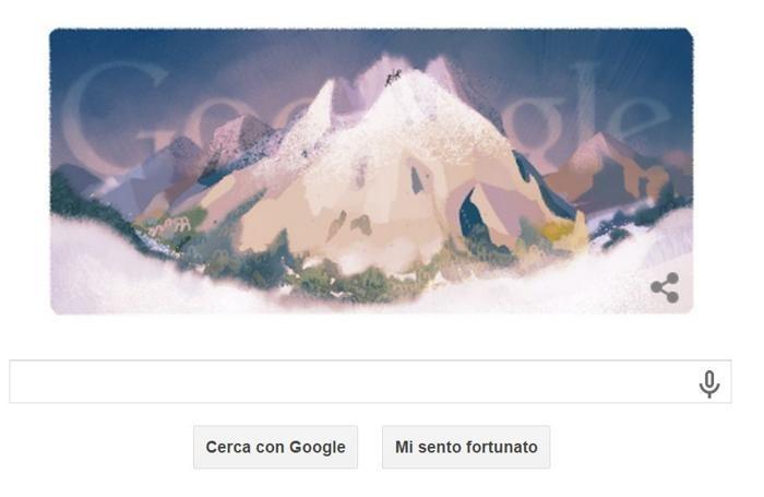 Il doodle di Google dedicato al Monte Bianco l'8 agosto
