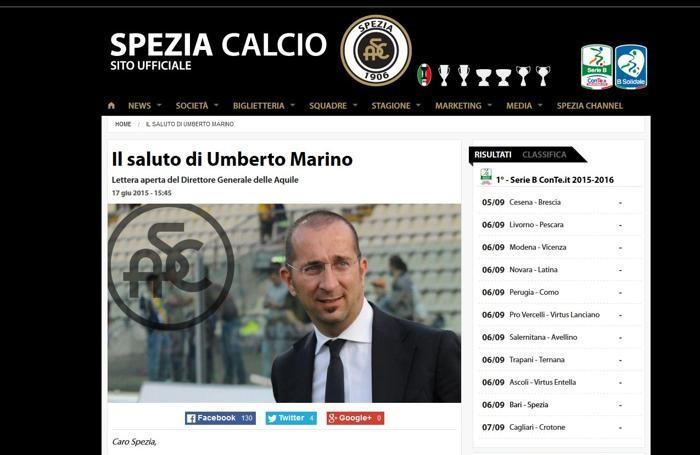 Il saluto di Marino sul sito dello Spezia Calcio