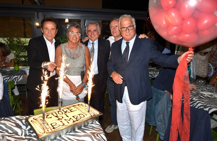 Roby Facchinetti, Giuliana D'Ambrosio e Paolo Ferrazzi nella  cena solidale del 2013